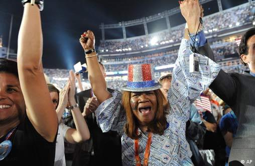 Colorado Delegate Julia Hicks, from Westminster, cheers as Democratic presidential candidate Sen. Barack Obama, D-Ill., speaks on the final night of the Democratic National Convention, Thursday, August 28, 2008 at Invesco Field at Mile High in Denver. (AP Photo/Cyrus McCrimmon, The Denver Post) ** DENVER OUT; NO MAGS; NO TV; NO INTERNET**
