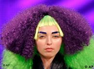 A model displays a creation by hair stylist Daniel Hernandez, during the Hair Fashion Show in Sao Paulo, Thursday, Aug. 28, 2008