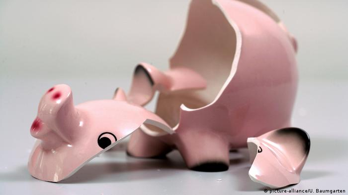 A broken china piggybank