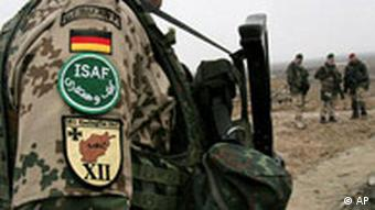 German soldiers stand guard in the Deh Sabz district of Kabul