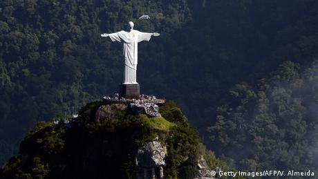 Aerial view of the Christ the Redeemer statue atop Corcovado Hill in Rio de Janeiro, Brazil.