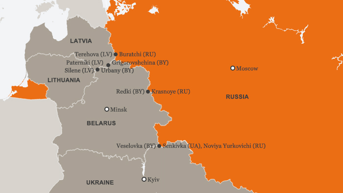 Map showing borders of Russia, Belarus, Latvia, Lithuania and Ukraine