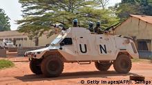Ein Panzerfahrzeug der Minusca in Bangui (Archivbild)