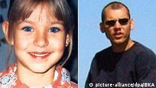 Links: Die undatierte Aufnahme, die von der Polizei herausgegeben wurde, zeigt die 9-jährige Peggy Knobloch aus Lichtenberg (Landkreis Hof). Seit vergangenem Montag (07.05.2001) wird das Kind vermisst. Nach Angaben der Polizei hatte sich das Mädchen am Mittag auf den Heimweg von der Schule gemacht. Kam dort aber nie an. Das Kind trug eine schwarze Windjacke mit der Aufschrift TSV Lichtenberg, ein oranges Sweat-Shirt und eine olivgrüne Hose. dpa/lby | Rechts: HANDOUT - Das Handout des Bundeskriminalamtes vom Dienstag (08.05.2012)zeigt das mutmaßliche Mitglied der Terrorzelle Nationalsozialistischer Untergrund (NSU), Uwe Böhnhardt, aufgenommen im Jahr 2004. Bei den Ermittlungen zur Nazi-Terrorzelle NSU hat das Bundeskriminalamt einen neuen bundesweiten Fahndungsaufruf gestartet und Urlaubsbilder veröffentlicht. Foto: Bundeskriminalamt dpa(Achtung Redaktionen: Nur zu redaktionellen Verwendung im Zusammenhang mit der Berichterstattung - zu dpa 1837 vom 08.05.2012) +++(c) dpa - Bildfunk+++ |