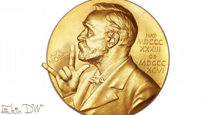 Карикатура: Альфред Нобель на медали Нобелевской премии показывает пальцами типичный для рок-музыкантов знак