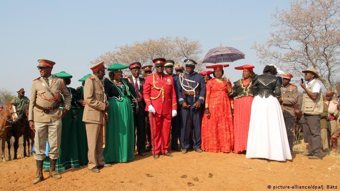 Namibia Paramount Chief Vekuii Rukoro with other clan elders