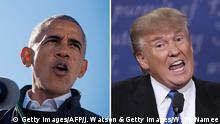 Bildkombo - Barack Obama und Donald Trump