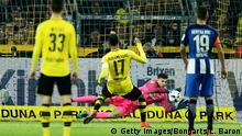 DORTMUND, GERMANY - OCTOBER 14: Pierre-Emerick Aubameyang #17 of Dortmund fails to score over Rune Jarstein, goalkeeper of Berlin by penalty kick during the Bundesliga match between Borussia Dortmund and Hertha BSC at Signal Iduna Park on October 14, 2016 in Dortmund, Germany. (Photo by Lars Baron/Bongarts/Getty Images)