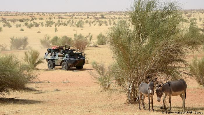 An army truck in the Chadian desert, with a couple of donkeys in the foreground (Getty Images/AFP/P. Guyot)