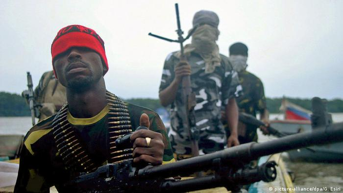 Armed Nigerian rebels on the Niger Delta