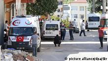 16.10.2016*** epa05587701 Turkish police, members of an anti-terror unit and rescue services gather near the scene of a raid against suspected members of the so-called 'Islamaic State' (IS), in Gaziantep, Turkey, 16 October 2016. According to local media reports three Turkish police officers were killed and 3 police died and at least eight other people, including four Syrians, were injured when a suspected IS member blew himself up during a police raid. Security agents reportedly had surrounded the building and were trying to enter it when the explosion occured. EPA/STR  