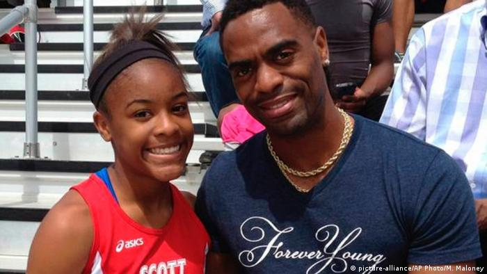 USA Leichtathlet Tyson Gay mit Tochter Trinity (picture-alliance/AP Photo/M. Maloney)