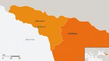 Karte Republik Abchasien mit Hauptstadt Sochumi