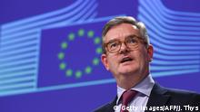 12.10.2016 *** Europe's new security commissioner Julian King gives a joint press conference with EU Commissioner of Migration & Home Affairs on the First Progress Report on delivering the Security Union at the EU Headquarters in Brussels on October 12, 2016. / AFP / JOHN THYS (Photo credit should read JOHN THYS/AFP/Getty Images)