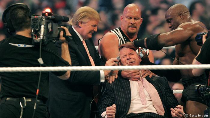 Donald Trump in a wrestling ring