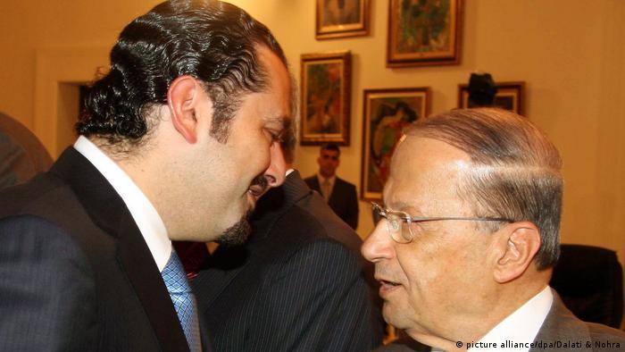 Libanon Beirut Politiker Saad Hariri (L) und Michel Aoun