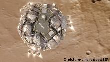 HANDOUT - Die Illustration zeigt das Schiaparelli-Modul kurz der Landung auf der Oberfläche des Mars. Die Sonde soll heute (19.10.) auf dem Roten Planeten landen und Daten senden. Foto: ESA/ATG medialab/dpa ACHTUNG:Nur zur redaktionellen Verwendung und nur mit Nennung Foto: ESA ATG-medialab/dpa +++(c) dpa - Bildfunk+++  