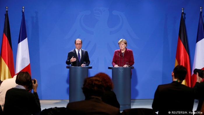 Франсуа Олланд и Ангела Меркель на пресс-конференции в Берлине