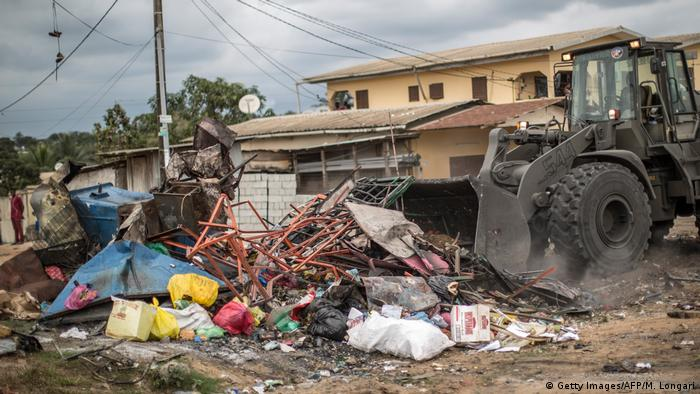 Destroyed streets in Libreville