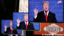 October 19, 2016 Republican U.S. presidential nominee Donald Trump is shown on TV monitors in the media filing room on the campus of University of Nevada, Las Vegas, during the last 2016 U.S. presidential debate in Las Vegas, U.S., October 19, 2016. REUTERS/Jim Urquhart TPX IMAGES OF THE DAY