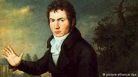 Portrait of Ludwig Van Beethoven, with the temple of Apollo in the background, by Willibrord Joseph Mähler, 1804 Copyright: Picture-alliance