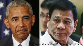 Kombobild Obama Duterte (picture-alliance/dpa/N. Shrestha/M. Irham)