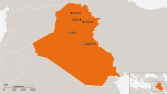 Mapa de Irak con ciudades como Kirkuk, en el nororiente.
