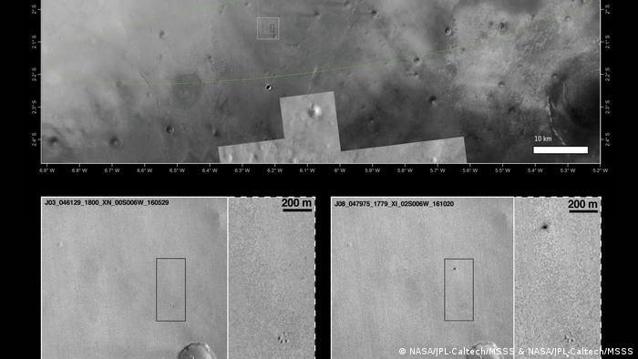 MRO Foto von Schiaparelli – Landung (NASA/JPL-Caltech/MSSS & NASA/JPL-Caltech/MSSS)