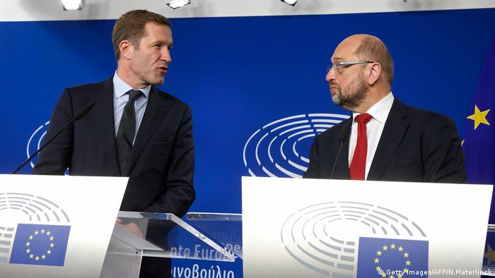 Paul Magnette y Martin Schulz (Getty Images/AFP/N.Materlinck)