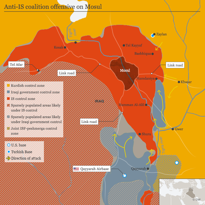 Karte, Infografik Anti-IS-Koalition offensive on Mosul ENG