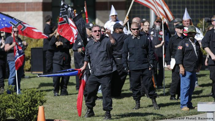 Members of the Ku Klux Klan during a white pride rally in Georgia last year