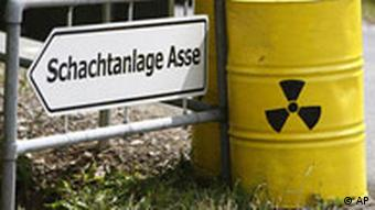 Containers with nuclear sign on them