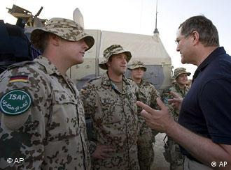 German Defense Minister Franz Josef Jung talks to German soldiers in Kunduz, Afghanistan