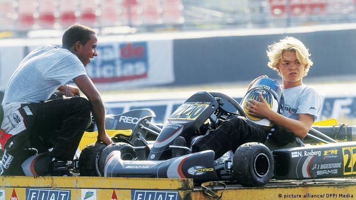Lewis Hamilton y Nico Rosberg durante el campeonato mundial de kart en 2000.
