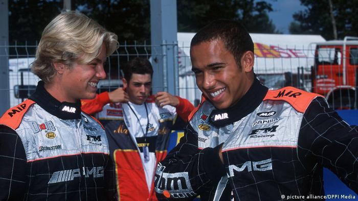 Nico Rosberg y Lewis Hamilton en 2001.