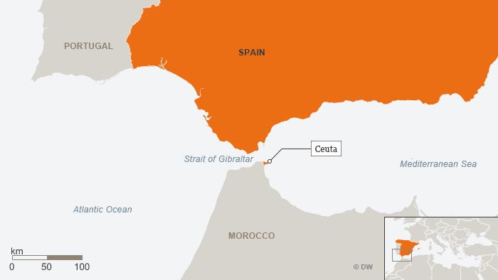 Karte Spanien Ceuta EN