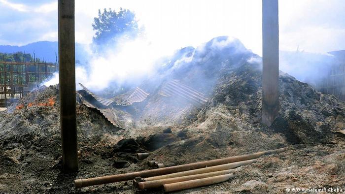 Äthiopien Gedeo Grundstücke Brand Protest