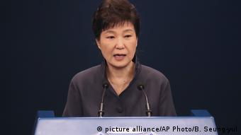 outh Korean President Park Geun-hye speaks as she offers a public apology in Seoul, South Korea