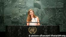 Samantha Power UN Hauptsitz Rede (picture-alliance/AP Photo/S.Wenig)