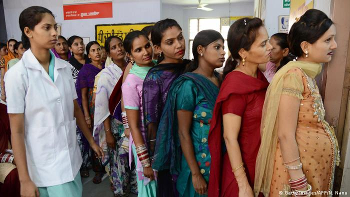 Pregnant Indian women wait for a check-up at a government hospital in Amritsar on July 11, 2013, on the occasion of World Population Day