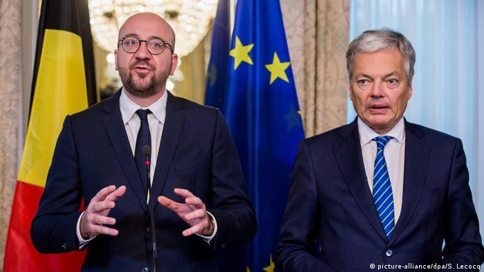 Brüssel Charles Michel Didier Reynders PK Einigung CETA (picture-alliance/dpa/S. Lecocq)