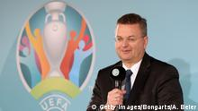 27.10.2016+++München, Deutschland DFB president Reinhard Grindel speaks during the official EURO 2020 logo presentation for the Munich venue on October 27, 2016 in Munich, Germany. EURO 2020 will be played in 13 venues all over Europe and the Munich Allianz Arena stadium will be the venue in Germany. (Photo by Alexandra Beier/Bongarts/Getty Images)