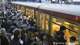 A packed S-Bahn in the capital Berlin
