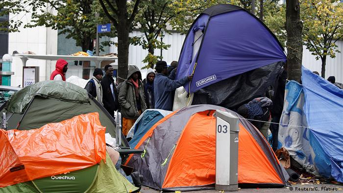 Refugees set up their tents in the French capital after they left Calais. The number of migrants on Paris' streets has increased by a third after the Jungle was closed.