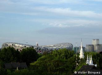Aussicht auf Olympiastadium in Peking. Datum: 16.08.2008 Foto: Victor Bórquez