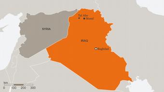 Karte Irak Syrien Tel Afar englisch