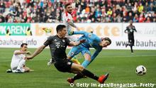 29.10.2016+++Augsburg, Deutschland Robert Lewandowski of Bayern Munich scors the third goal during the Bundesliga match between FC Augsburg and Bayern Muenchen at WWK Arena on October 29, 2016 in Augsburg, Germany. (Photo by Adam Pretty/Bongarts/Getty Images)