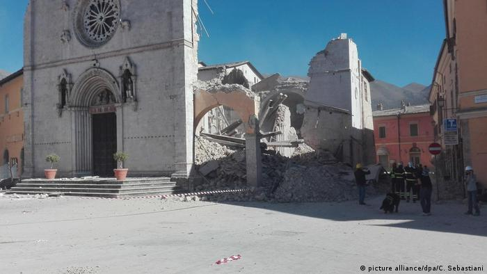 An ancient Cathedral in Norcia was destroyed
