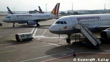 Aircrafts of Germanwings are parked on the tarmac of the Cologne-Bonn airport during a 24-hour strike over pay and working conditions for the employees of Lufthansa's low budget airlines Eurowings and Germanwings in Cologne, Germany October 27, 2016. REUTERS/Wolfgang Rattay