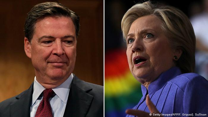Bildkombo James Comey und Hillary Clinton (Getty Images/AFP/Y. Gripas/J. Sullivan)